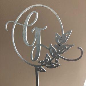 Wedding Cake Topper Metallic Silver Letter G